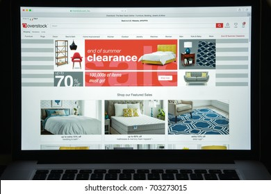 Milan, Italy - August 10, 2017: Overstock website homepage. It is an American internet retailer. Overstock logo visible.