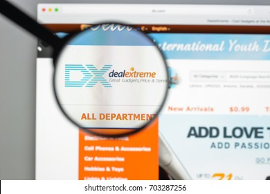 Milan, Italy - August 10, 2017: DX.com website homepage.  DX logo visible.