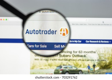 Milan, Italy - August 10, 2017: Autotrader website homepage. It an American automobile sales website and originator of the Auto Trader format. Autotrader logo visible.