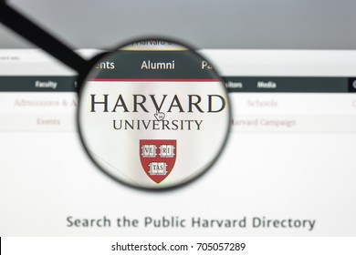 Milan, Italy - August 10, 2017: Harvard.edu website homepage. Harvard logo visible.