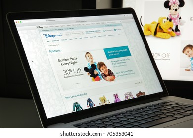 Milan, Italy - August 10, 2017: disneystore.com website homepage. It is an American diversified multinational mass media and entertainment conglomerate. disney store logo visible.