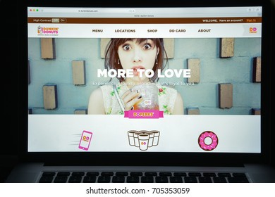 Milan, Italy - August 10, 2017: dunkindonuts.com website homepage. dunkin donuts logo visible.
