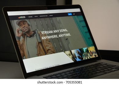 Milan, Italy - August 10, 2017: Deezer website homepage. It is an Internet-based music streaming service. Deezer logo visible.