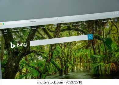 Milan, Italy - August 10, 2017: Bing.com website homepage. It is a web search engine owned and operated by Microsoft. Bing logo visible.
