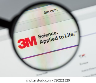 Milan, Italy - August 10, 2017: 3M website homepage. Is an American multinational conglomerate corporation, produces more than 55,000 products 3M logo visible.