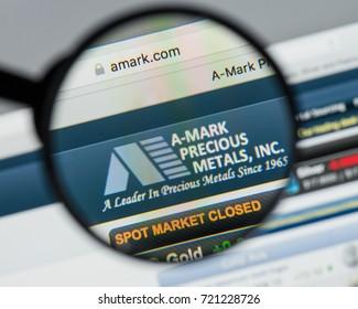 Milan, Italy - August 10, 2017: A-Mark Precious Metals website homepage. It is a precious metals trading company. A-Mark logo visible.