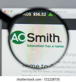 Milan, Italy - August 10, 2017: A.O.Smith website homepage. It is an American manufacturer of both residential and commercial water heaters and boilers . A.O.Smith logo visible.