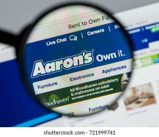 Milan, Italy - August 10, 2017: Aaron's website. It is a lease-to-own retailer. The company focuses on leases and retail sales of furniture, electronics, appliances, and computers. Aaron logo visible.