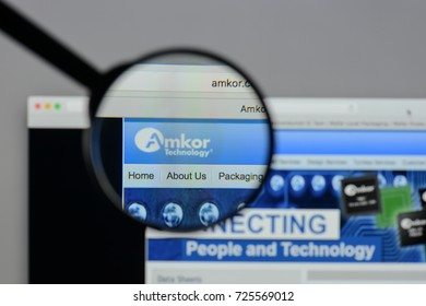 Milan, Italy - August 10, 2017: Amkor Technology website homepage. It is a semiconductor product packaging and test services provider. Amkor logo visible.