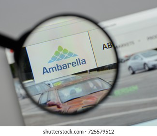 Milan, Italy - August 10, 2017: Ambarella website. It is a developer of low-power, high-definition video compression and image processing products. Ambarella logo visible.
