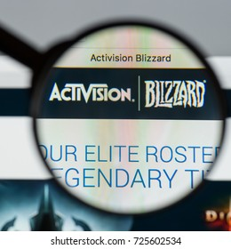 Milan, Italy - August 10, 2017: Activision Blizzard website homepage. It is an American video game developer. Activision Blizzard logo visible.