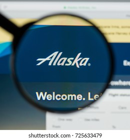 Milan, Italy - August 10, 2017: Alaska Air Group website homepage. It is an airline holding company based in SeaTac. Alaska Air Group