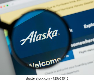 Milan, Italy - August 10, 2017: Alaska Air Group website homepage. It is an airline holding company based in SeaTac. Alaska Air Grouplogo visible.
