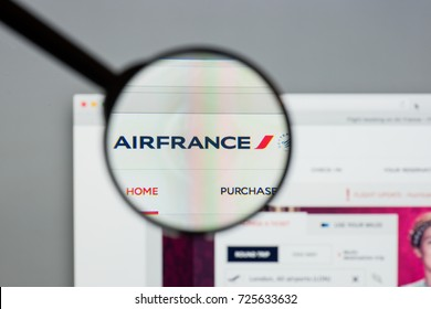 Milan, Italy - August 10, 2017: Air France website homepage. It is the French flag carrier. Air France logo visible.