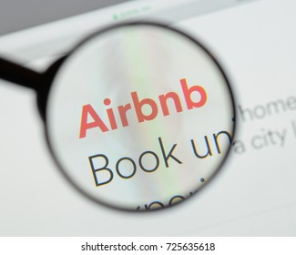 Milan, Italy - August 10, 2017: Airbnb website homepage. It is an online marketplace and hospitality service. Airbnb logo visible.