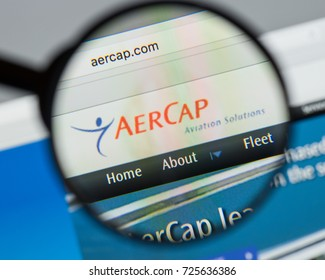 Milan, Italy - August 10, 2017: Aer Cap Holdings website homepage. It is the world's largest independent aircraft leasing company. AerCap logo visible.