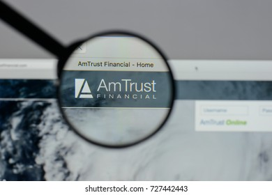 Milan, Italy - August 10, 2017: Am Trust Financial Services website homepage. It is a New York City-based multinational property and casualty insurance company. Am Trust logo visible.