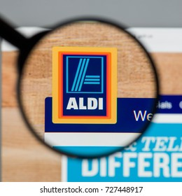Milan, Italy - August 10, 2017: ALDI website homepage. It is the common brand of two leading global discount supermarket chains with over 10,000 stores in 18 countries. ALDI logo visible.