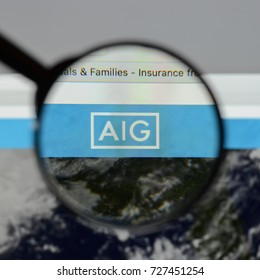 Milan, Italy - August 10, 2017: AIG website homepage. It is an American multinational insurance corporation. AIG logo visible.