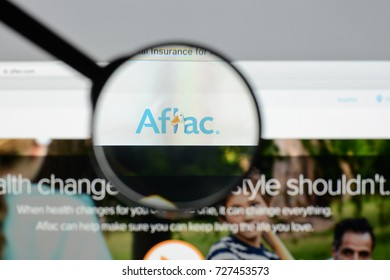 Milan, Italy - August 10, 2017: Aflac website. It is an American insurance company and is the largest provider of supplemental insurance in the United States. Aflac logo.