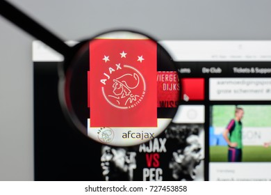 Milan, Italy - August 10, 2017: AFC Ajax Amsterdam website homepage. It is a Dutch professional football club. AFC Ajax logo visible.