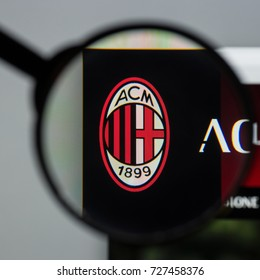 Milan, Italy - August 10, 2017: AC Milan website homepage. It is a professional football club in Milan, Italy, founded in 1899. AC Milan logo visible.