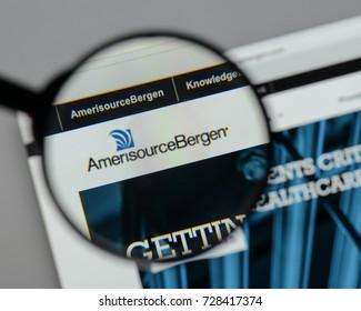 Milan, Italy - August 10, 2017: Amerisource Bergen website homepage. It is an American drug wholesale company. Amerisource Bergen logo visible.