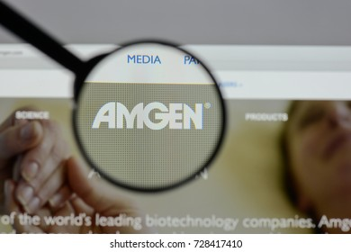 Milan, Italy - August 10, 2017: amgen website homepage. It is an American multinational biopharmaceutical company. amgen logo visible.