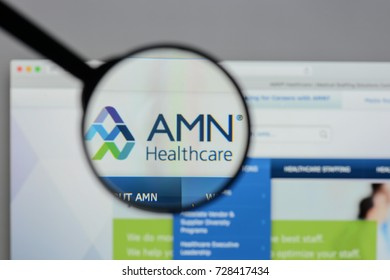 Milan, Italy - August 10, 2017: AMN Healthcare Services website homepage. AMN Healthcare logo visible.