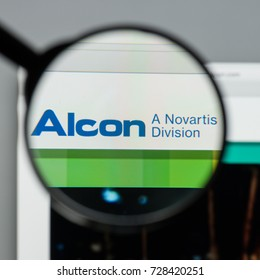 Milan, Italy - August 10, 2017: Alcon website homepage. It is an American global medical company specializing in eye care products. Alcon logo visible.