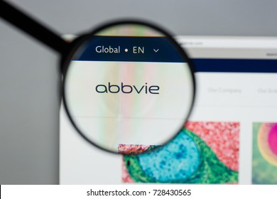 Milan, Italy - August 10, 2017: Abbvie website homepage. It is a pharmaceutical company that discovers, develops and markets both biopharmaceuticals and small molecule drugs. Abbvie logo visible.