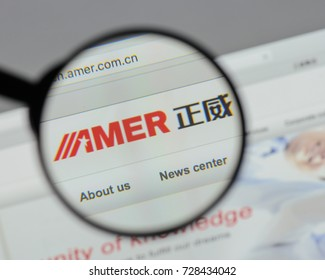 Milan, Italy - August 10, 2017: Amer International Group website homepage. It is a Chinese company that produces cable and copper products. Amer International logo visible.