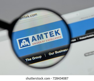 Milan, Italy - August 10, 2017: Ametek website homepage. It is an American global manufacturer of electronic instruments. Ametek logo visible.