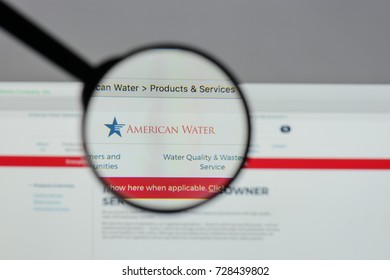 Milan, Italy - August 10, 2017: American Water website homepage. It is an American public utility company operating in the United States and Canada. American Water logo visible.