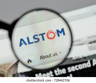 Milan, Italy - August 10, 2017: Alstom website homepage. It is a French multinational company operating worldwide in rail transport markets. Alstom logo visible.