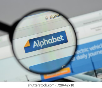 Milan, Italy - August 10, 2017: Alphabet website homepage. It . Alphabet logo visible.