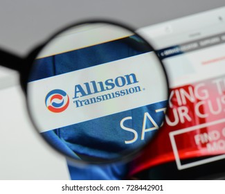 Milan, Italy - August 10, 2017: Allison Transmission Holdings website homepage. It is an American manufacturer of commercial duty automatic transmissions. Allison logo visible.