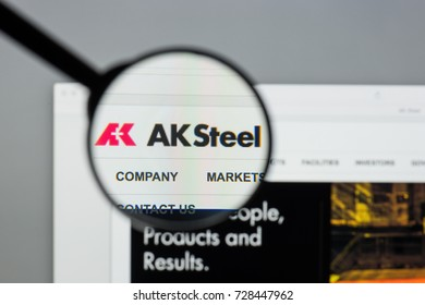 Milan, Italy - August 10, 2017: AK Steel Holding website homepage. It is a steel producer. AK Steel logo visible.