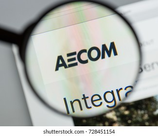 Milan, Italy - August 10, 2017: AECOM website homepage. It is an American multinational engineering firm. AECOM logo visible.