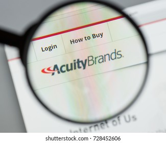 Milan, Italy - August 10, 2017: Acuity Brands website homepage. It is an electronics manufacturing company. Acuity Brands logo visible.