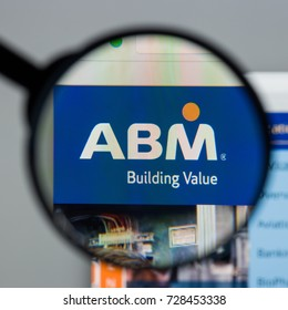 Milan, Italy - August 10, 2017: ABM Industries website homepage. It is a facility management provider in the United States. ABM logo visible.
