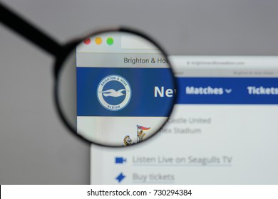 Milan, Italy - August 10, 2017: Brighton & Hove Albion logo on the website homepage.