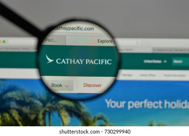 Milan, Italy - August 10, 2017: Cathay Pacific Airways logo on the website homepage.
