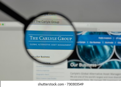 Milan, Italy - August 10, 2017: Carlyle Group logo on the website homepage.