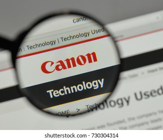 Milan, Italy - August 10, 2017: Canon logo on the website homepage.