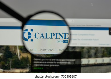 Milan, Italy - August 10, 2017: Calpine logo on the website homepage.