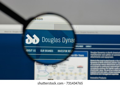 Milan, Italy - August 10, 2017: Douglas Dynamics logo on the website homepage.