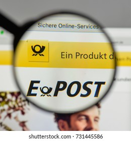 Milan, Italy - August 10, 2017: Deutsche Post DHL Group logo on the website homepage.