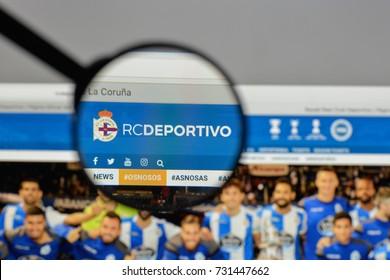 Milan, Italy - August 10, 2017: Deportivo de La Coruna logo on the website homepage.