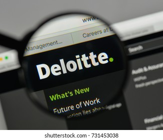 Milan, Italy - August 10, 2017: Deloitte logo on the website homepage.